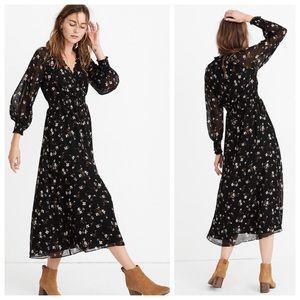 NWT Madewell Georgette Smocked Midi Dress M